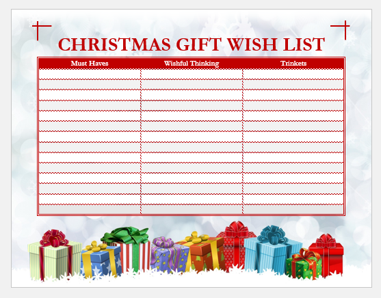 Christmas Gift Wish List Template For Word Word Excel