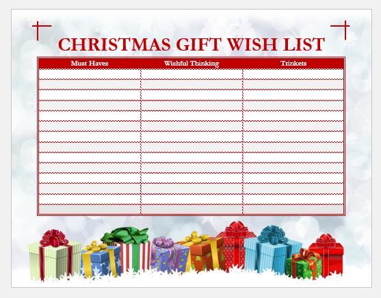 Christmas gift wish list template