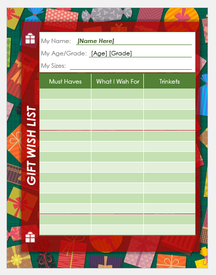 Funny Christmas Wish List Template Word Excel Templates