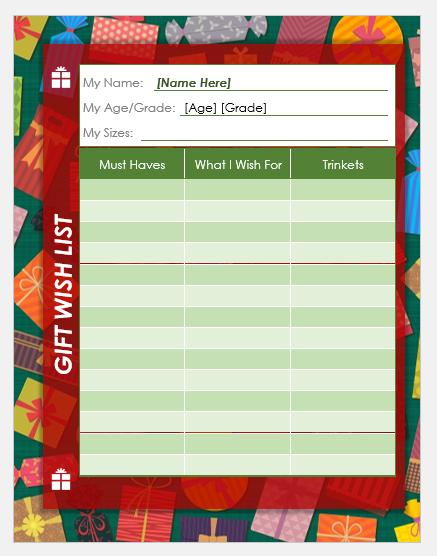 Funny Christmas wish list template