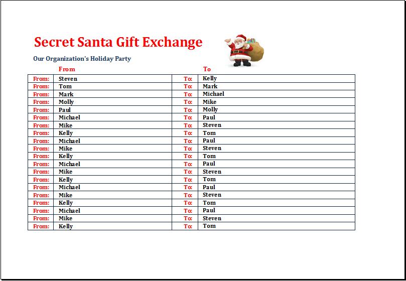 Office Secret Santa Gift Exchange List Template Word