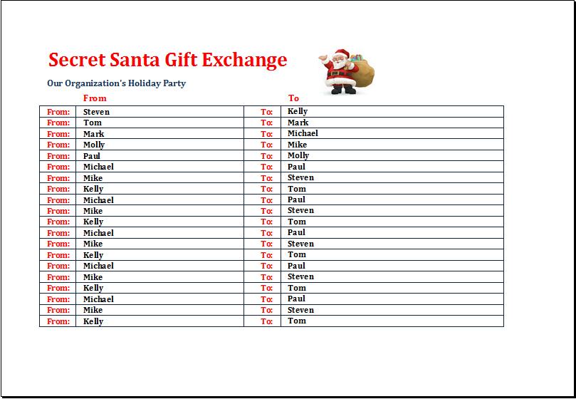 Office secret santa gift exchange list