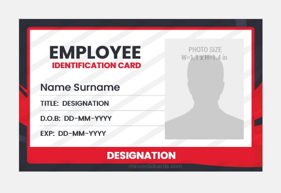 Employee id card MS Word
