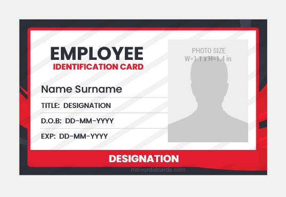 Employee id card MS Word