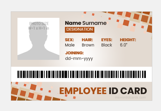 Employee id card layout