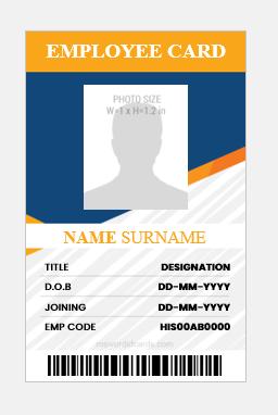 Employee id card design vertical