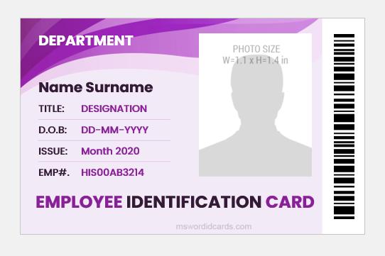 Employee id card sample