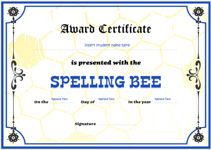 Spelling Bee Certificate Templates For Word Word Excel