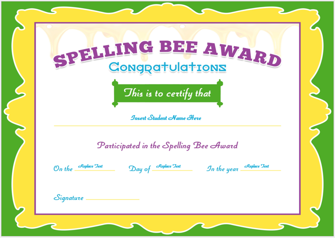 Spelling bee certificate sample