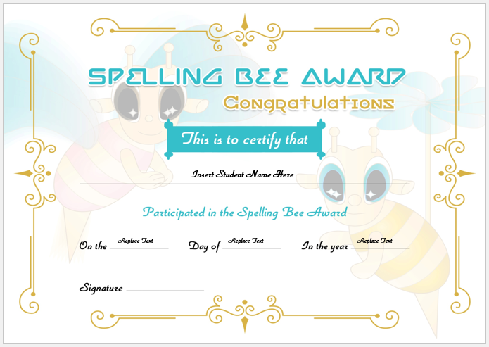Spelling bee certificate format