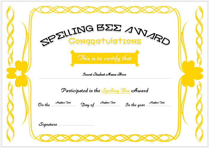 Spelling bee certificate layout