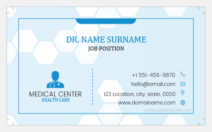 Sample business card for a doctor