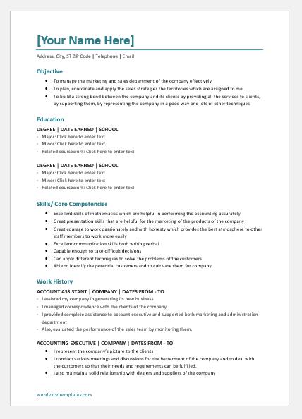 Account Executive Resume Word