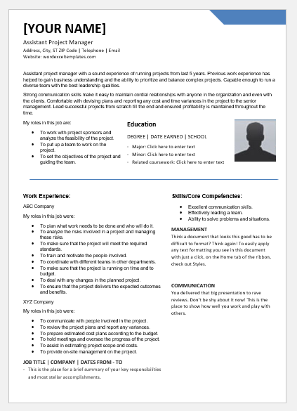 Assistant Project Manager Resumes Ms Word Word Amp Excel