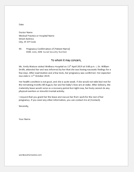 To Whom It May Concern Doctor Letter from www.wordexceltemplates.com