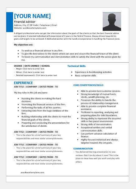 Finance Advisor Resume Templates for Word | Word & Excel ...
