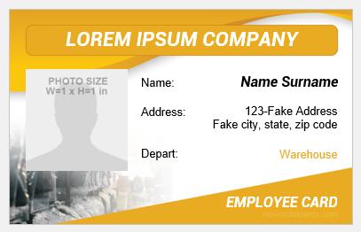 Storeroom employee id badge