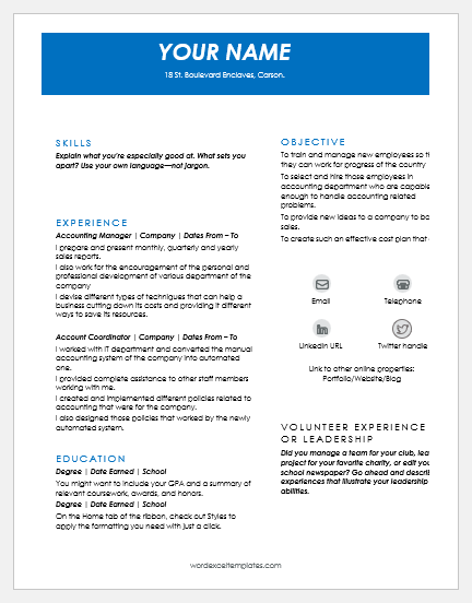 Account Manager Resume Templates MS Word | Word & Excel Templates