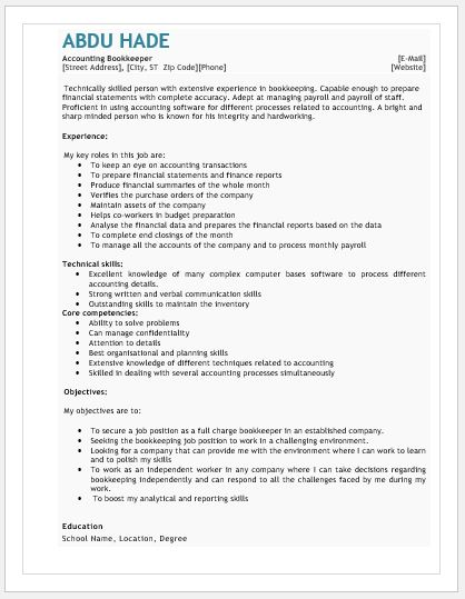 Accounting Bookkeeper Resume
