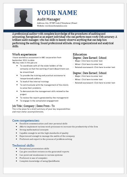 Audit manager resume
