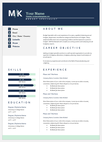 Budget specialist resume template