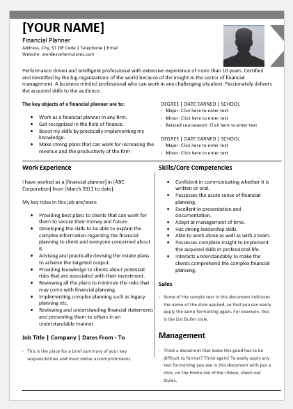 Certified Financial Planner Resume