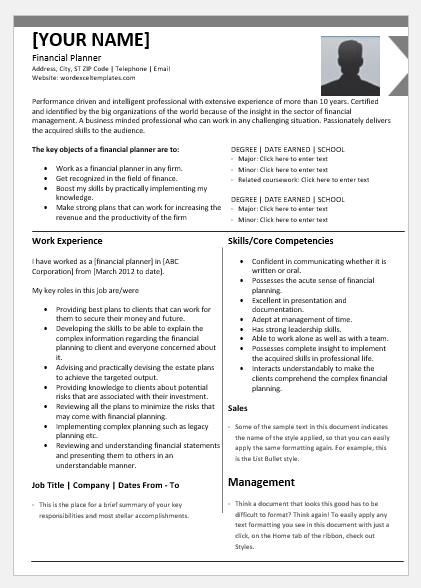 Certified Financial Planner Resume