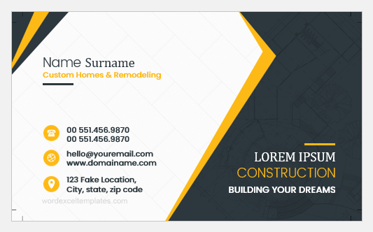 Construction Worker Business Card Templates Word Excel