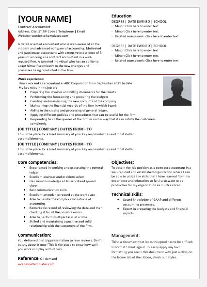 Contract accountant resume