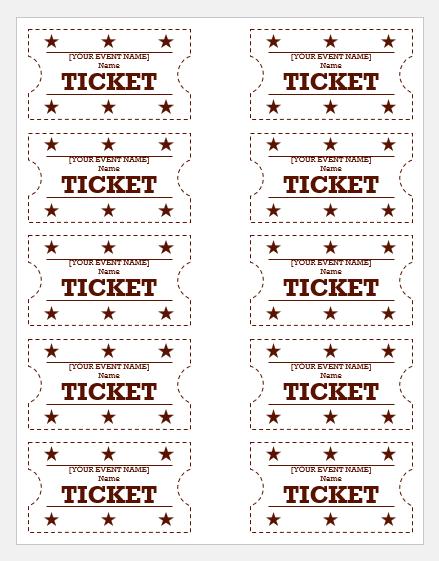 Event ticket templates