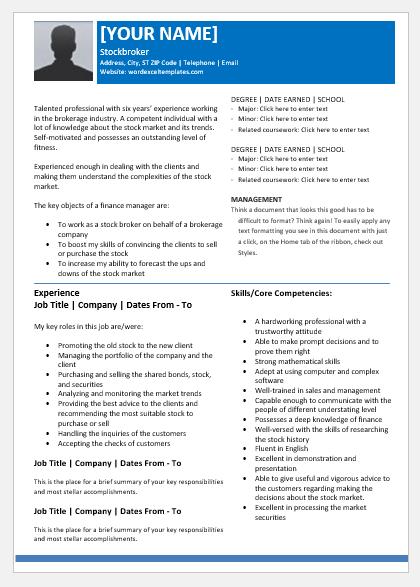 Stockbroker Resume
