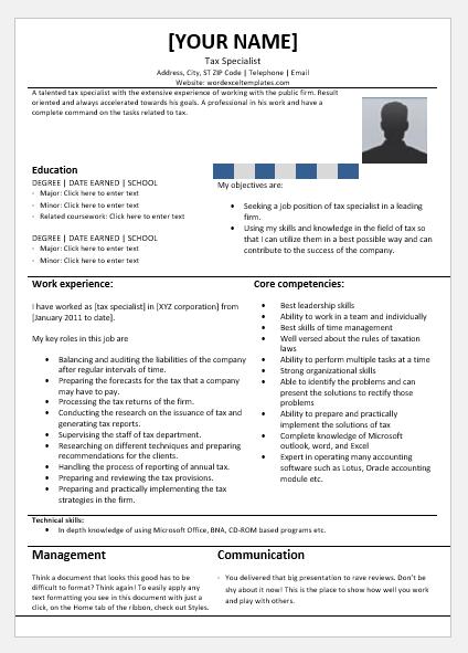 Tax Specialist Resume