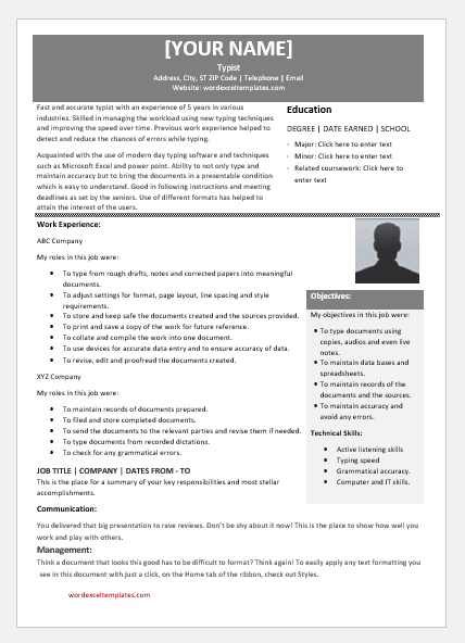 Typist Resume Templates For MS Word