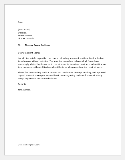 Excuse Letter For Being Absent In Work from www.wordexceltemplates.com