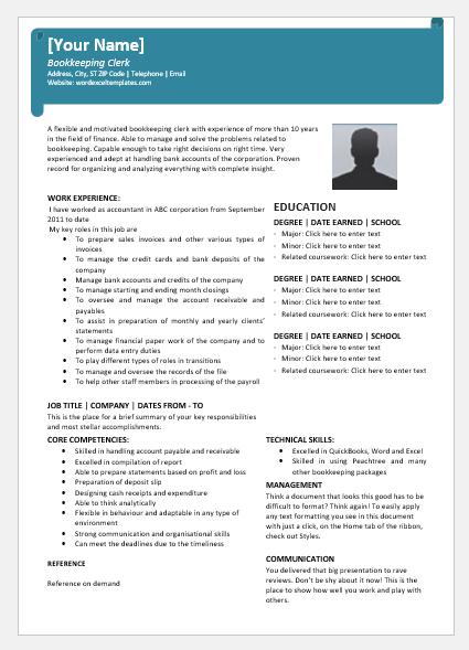 Bookkeeper Clerk Resume Sample