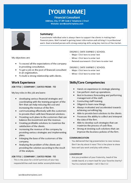 Financial Consultant Resume
