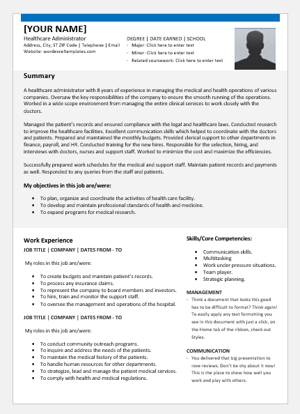 Healthcare Administrator Resume