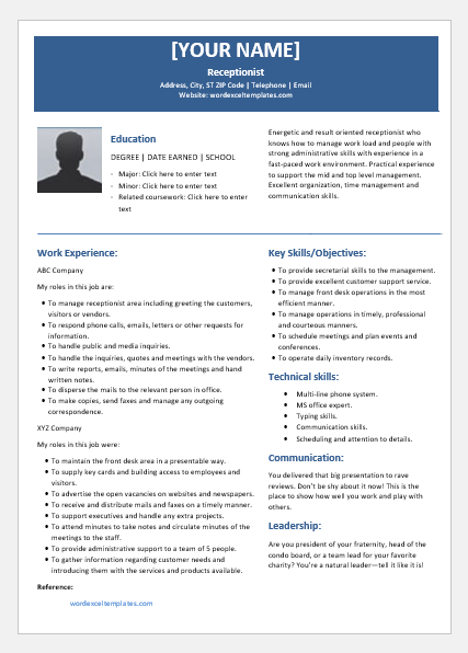 Receptionist Resume Templates For Word Word Excel Templates