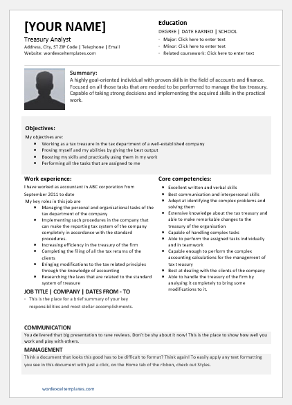 Treasury Analyst Resume