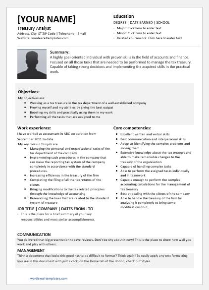 Treasury Analyst Resume