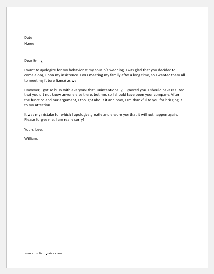Apology Letter to Girlfriend for Various Reasons   Word