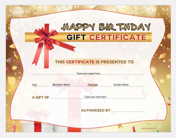 Birthday Gift Certificates For Ms Word Word Excel Templates