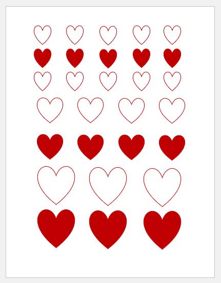Printable heart shapes