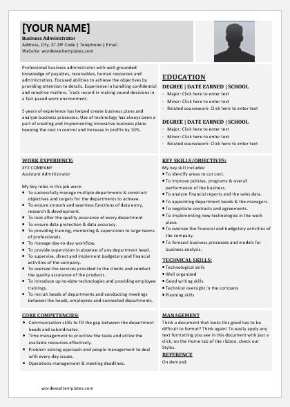 Business Administrator Resume