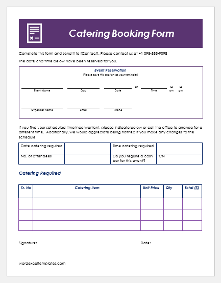 Catering Booking Form Templates For Ms Word Word Excel Templates
