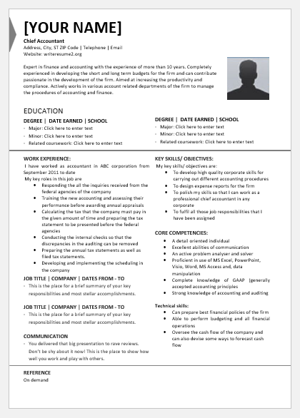 Chief Accountant Resume Template For Word Word Excel Templates