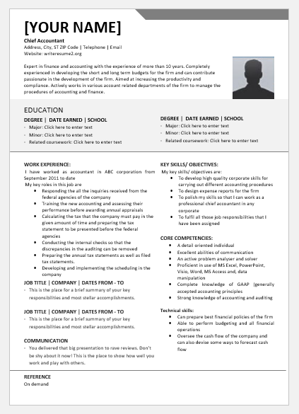 Chief Accountant Resume