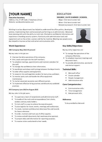 Executive Secretary Resume Template For Word Word Excel
