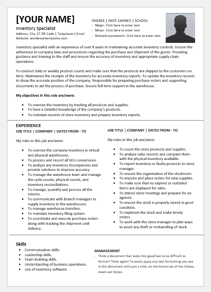 Inventory specialist resume