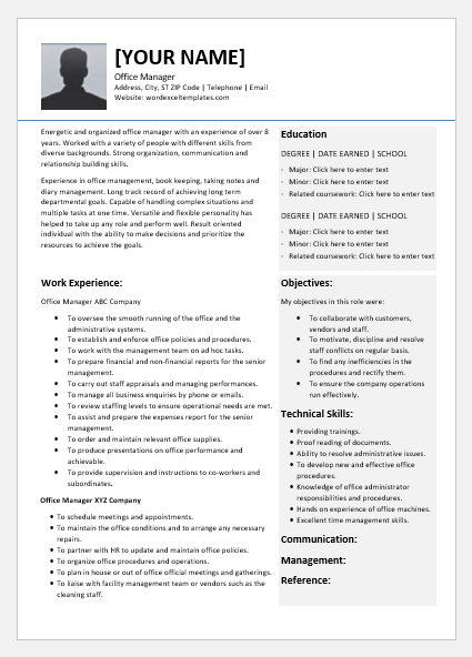 Office Manager Resume Templates for Word | Word & Excel ...
